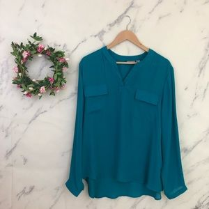 Chicos Popover High Low Hem Blouse